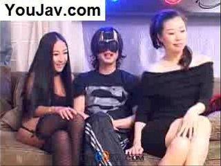Lucky Chinese Guy fucking 2 Japanese/Korean girls in Black