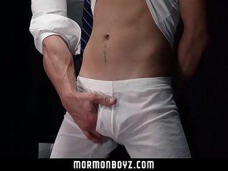 MormonBoyz - Intense muscle daddy priest blindfolds and barebacks misbehaving mi
